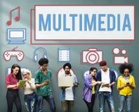 De Grafiek Digitaal Concept van de Animatiecomputer van verschillende media stock afbeeldingen