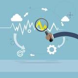 De Grafiek Financiële Zaken van Hand Analysis Finance van de vergrootglaszakenman Stock Foto's