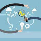 De Grafiek Financiële Zaken van Hand Analysis Finance van de vergrootglaszakenman Stock Afbeelding