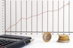 De grafiek, het muntstuk, de pen en cal van de voorraad Stock Afbeeldingen