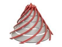 De grafiek rood-wit van de kegel met spiraalvormige rode pijlen Stock Foto's
