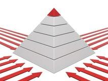 De grafiek rood-wit van de piramide Stock Afbeeldingen