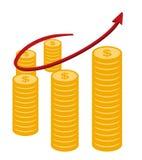 De grafiek van bedrijfs muntstukdollars concepten vectorontwerp Royalty-vrije Stock Afbeeldingen