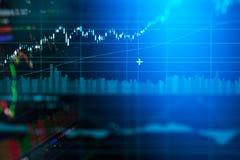 De grafiek van de bedrijfskandelaargrafiek van effectenbeursinvestering handel stock foto's