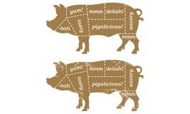 De Grafiek van Butcherâs van het Varken van de barbecue Stock Afbeelding