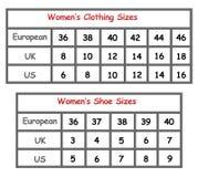 De grafiek van de de kledingsgrootte van vrouwen Royalty-vrije Stock Foto's