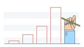 De grafiek van de de tekeningsgroei van de zakenmanhand om zaken te verbeteren Stock Fotografie