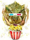 De grafiek van de dinosaurus tyrannosaur T-shirt, de waterverf van de dinosaurustekening Stock Afbeelding
