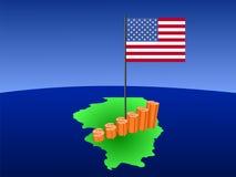 De grafiek van de dollar op de kaart van Illinois Royalty-vrije Stock Foto's