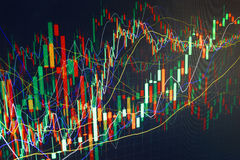 De grafiek van de financiënhandel. De aanwinst en kweekt geld Stock Foto
