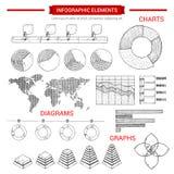 De grafiek van de Infographicschets, brengt vectorelementen in kaart Stock Fotografie