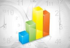De grafiek van de kleur tegen de klok Stock Foto