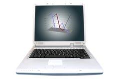 De grafiek van de lijn in 3D op laptop het scherm Stock Afbeeldingen