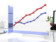 De grafiek van de lijn om de veranderingen te visualiseren stock illustratie