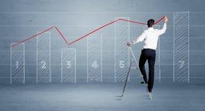 De grafiek van de mensentekening van ladder royalty-vrije stock foto