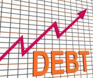 De Grafiek van de schuldgrafiek toont het Stijgen Financiële Schuldig Royalty-vrije Stock Foto's