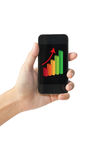 De grafiek van de succesgroei op de slimme telefoon van het aanrakingsscherm. Royalty-vrije Stock Afbeelding