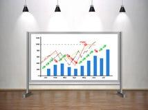 De grafiek van de tekeningsvoorraad op whiteboard Stock Fotografie