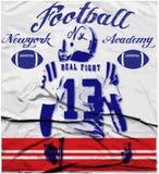 De grafiek van de universiteitsvoetbal voor t-shirt, vectorgrafiek Royalty-vrije Stock Fotografie