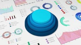 De grafiek van de vier cirkelcilinder met divers diagram voor presentatie templete stock video