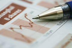 De Grafiek van de voorraad met pen Stock Afbeelding
