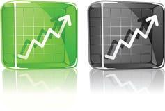 De Grafiek van de voorraad omhoog in het Vakje van het Glas Royalty-vrije Stock Afbeeldingen