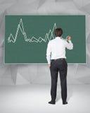 De grafiek van de zakenmantekening Stock Afbeeldingen