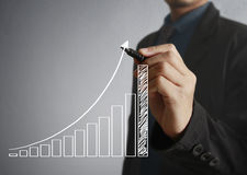De grafiek van de zakenmantekening het groeien grafiek Stock Afbeelding