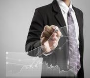 De grafiek van de zakenmantekening het groeien grafiek Stock Afbeeldingen