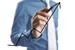 De grafiek van de zakenmantekening het groeien grafiek Stock Foto