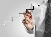 De grafiek van de zakenmantekening het groeien grafiek Royalty-vrije Stock Afbeeldingen