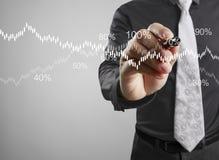 De grafiek van de zakenmantekening het groeien grafiek Royalty-vrije Stock Foto