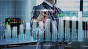 De grafiek van de zakenmantekening, voorraad marketing concept Royalty-vrije Stock Fotografie