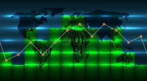 De grafiek van de diagramgrafiek op achtergrond van wereldkaart met nieuwe digitale globale technologieën van toekomst Kaart van  vector illustratie