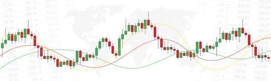 De grafiek van de effectenbeurskandelaar met wereldkaart stock illustratie
