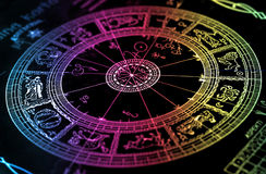 De grafiek van het de horoscoopwiel van de regenboog stock foto's