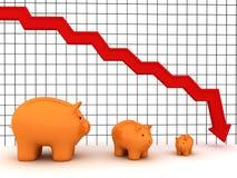 De grafiek van het spaarvarken Stock Fotografie