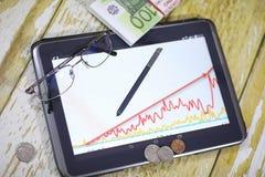 De grafiek van de inkomensgroei Elektronische tablet met een grafiek van gr. Royalty-vrije Stock Foto