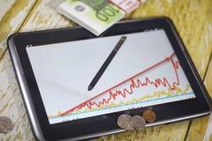 De grafiek van de inkomensgroei Elektronische tablet met een grafiek van gr. Royalty-vrije Stock Foto's
