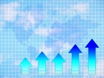 De grafiek van pijlen en wereldkaart Stock Foto's