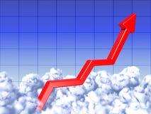 De grafiek van rode pijl groeit aan hemel Stock Foto's