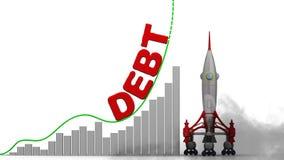 De grafiek van de schuldgroei vector illustratie