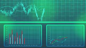 De grafiek van statistiekengegevens toont jaarlijkse productieoutput, economisch ontwikkelingsplan stock footage