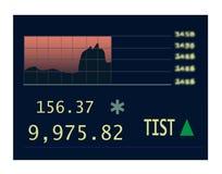 De grafiek van voorraden bij de beurs Stock Afbeelding
