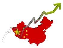 De grafiek van Yuan op de kaartvlag van China Royalty-vrije Stock Afbeelding