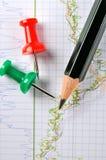 De grafiekanalyse van de voorraad Stock Afbeelding