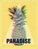 De grafiekdruk van de de zomer tropische T-shirt, ananas stock illustratie