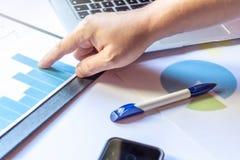 De grafieken en laptop van het financiënbureau royalty-vrije stock afbeelding
