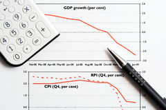 De grafieken van het BBP en van CPI. Stock Afbeeldingen