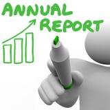 De Grafiekfinanciële staat van Jaarverslagwoorden Stock Foto